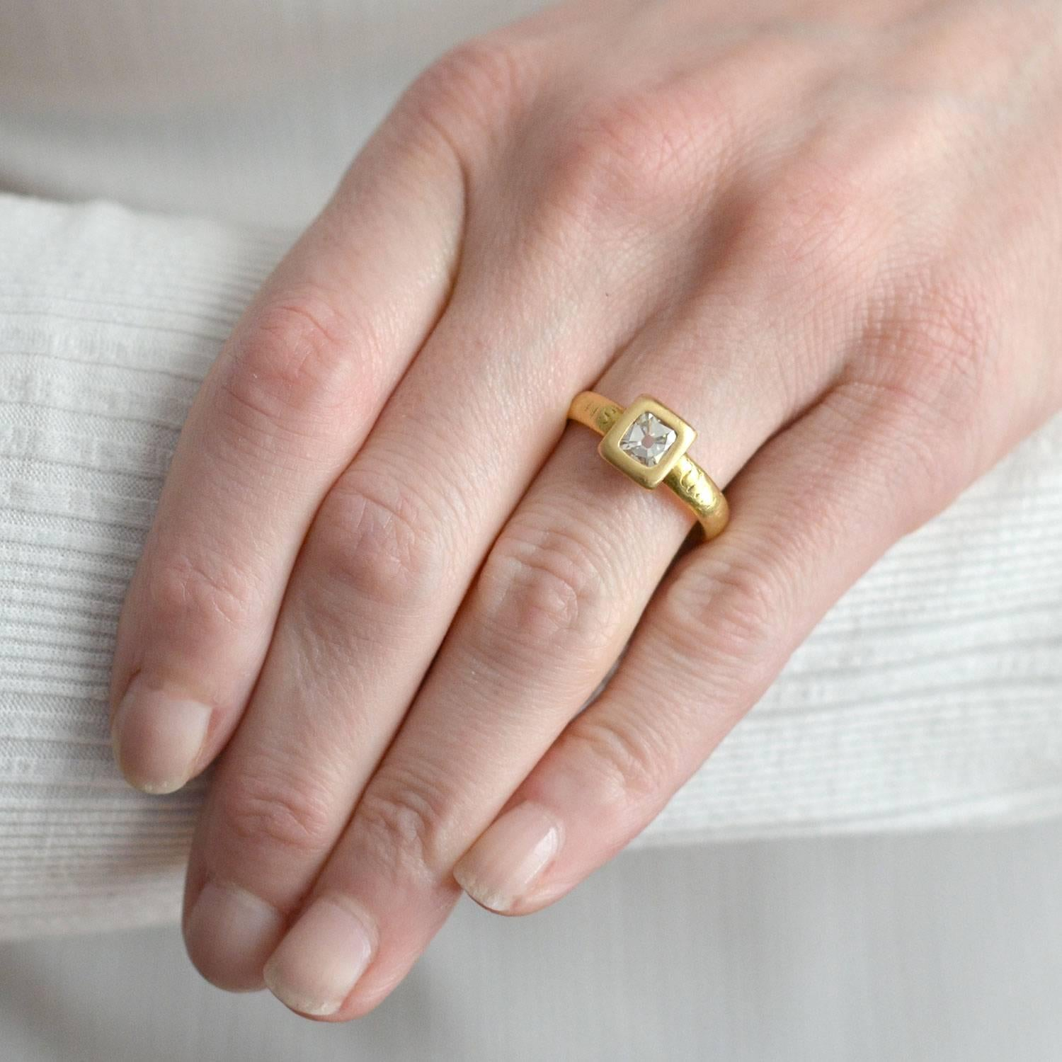 Georgian Table Cut Diamond Inscribed Gold Ring For Sale at 1stdibs