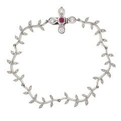 Cathy Waterman Diamond Ruby Flower Bracelet