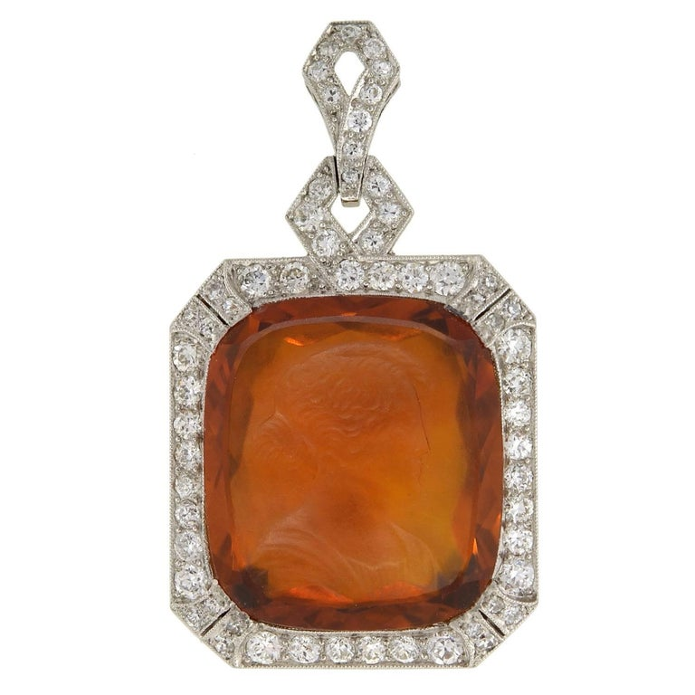 Art Deco Diamond & Carved Citrine Cameo Platinum Pendant