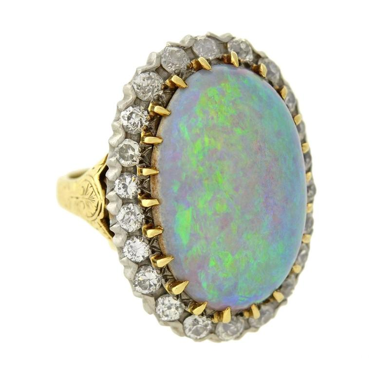 Exquisite Victorian Large Opal Diamond Gold & Sterling Ring