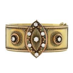 Victorian Etruscan Diamond & Gold Hinge Bracelet