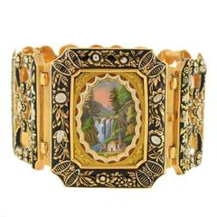 Early Victorian Swiss Enamel & MOP Gold Bracelet w/Locket