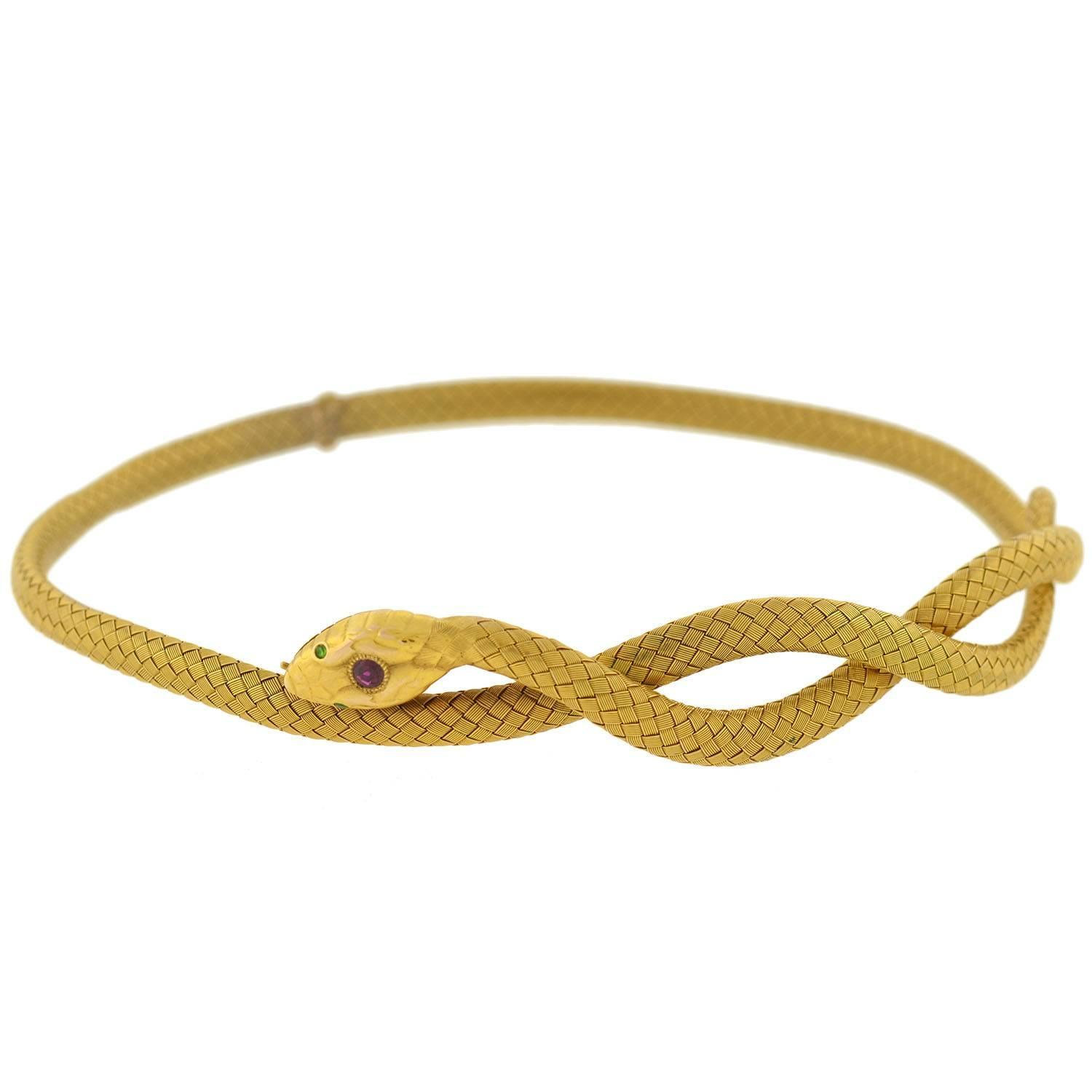 gemstone woven gold snake choker necklace at 1stdibs