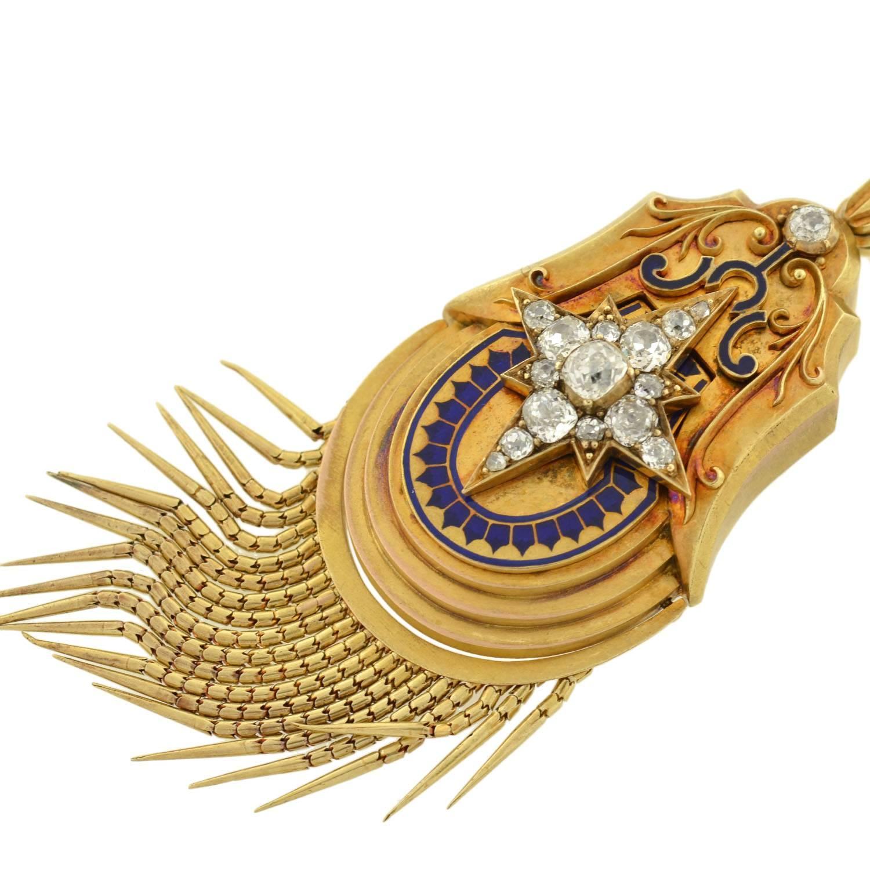 Victorian enamel diamond gold starburst foxtail locket