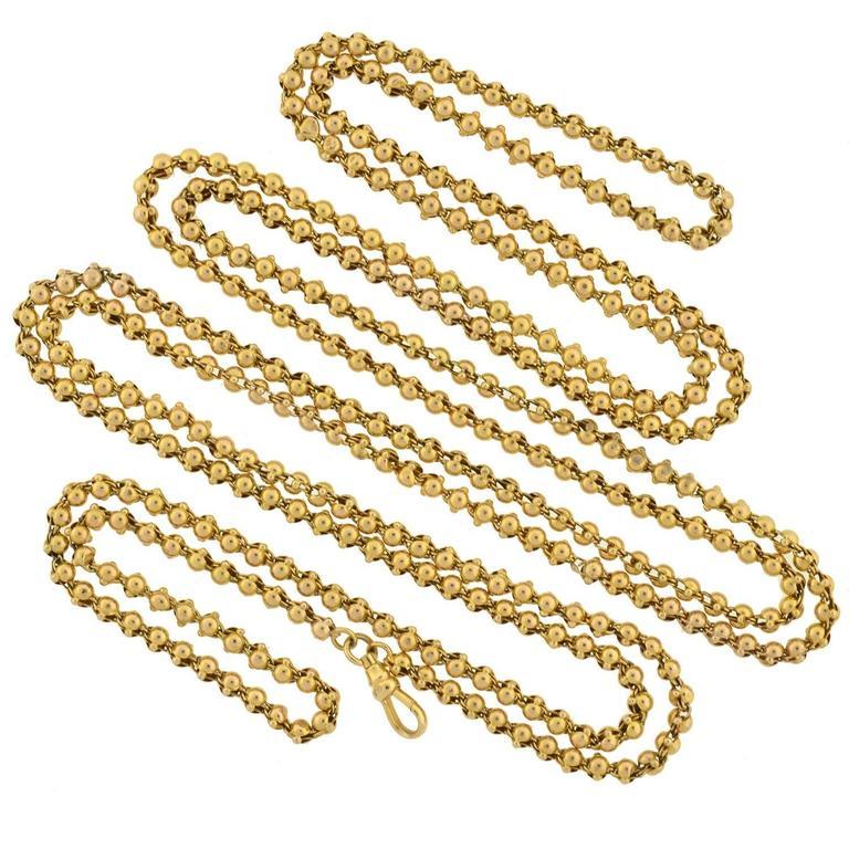 "Victorian Handmade Gold Ball Link Chain 58"""