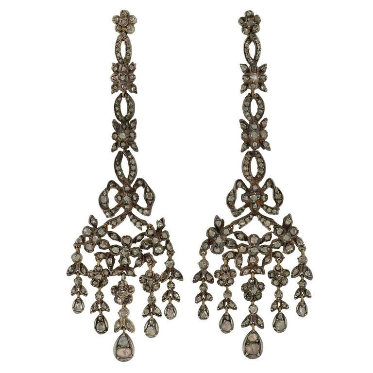 Georgian Drippy Rose Cut Diamond Earrings