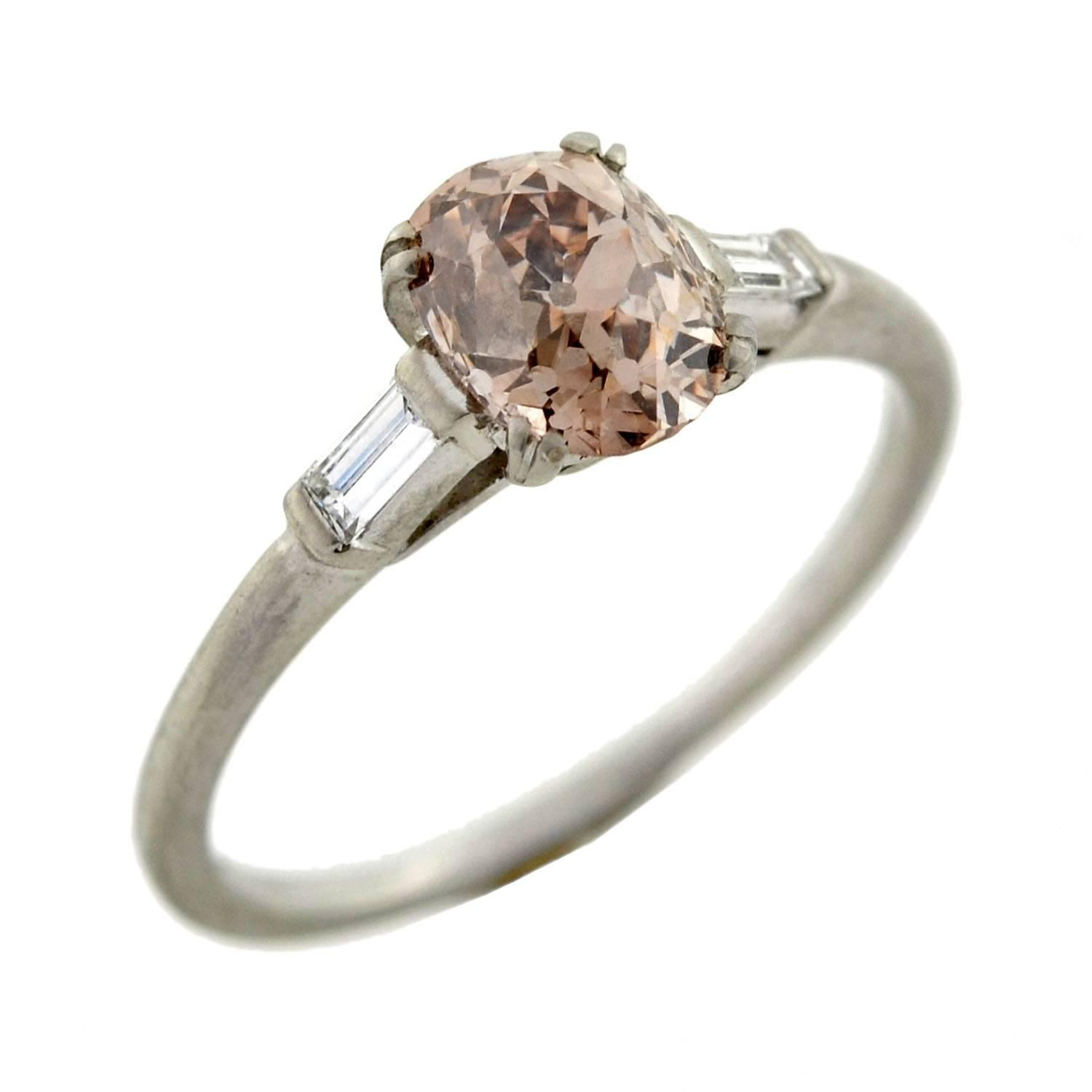 engagement ring view horizontal west east back rose products oval madison aura valerie rings gold bezel champagne