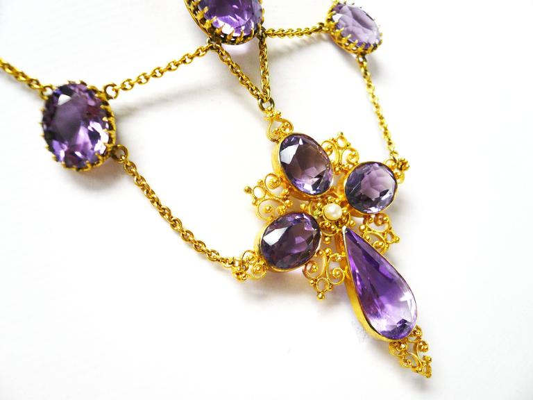 1880s Victorian Amethyst Gold Cross Swag Necklace 2