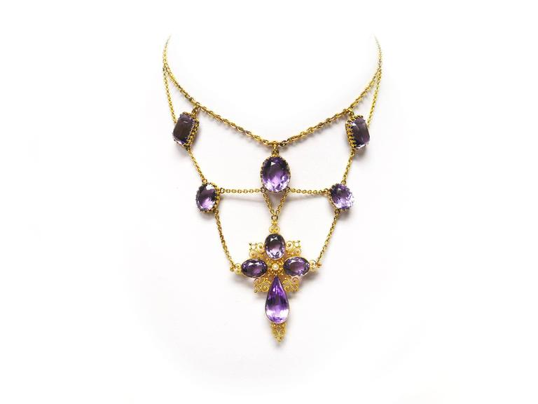 1880s Victorian Amethyst Gold Cross Swag Necklace 6