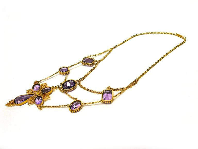 1880s Victorian Amethyst Gold Cross Swag Necklace 3