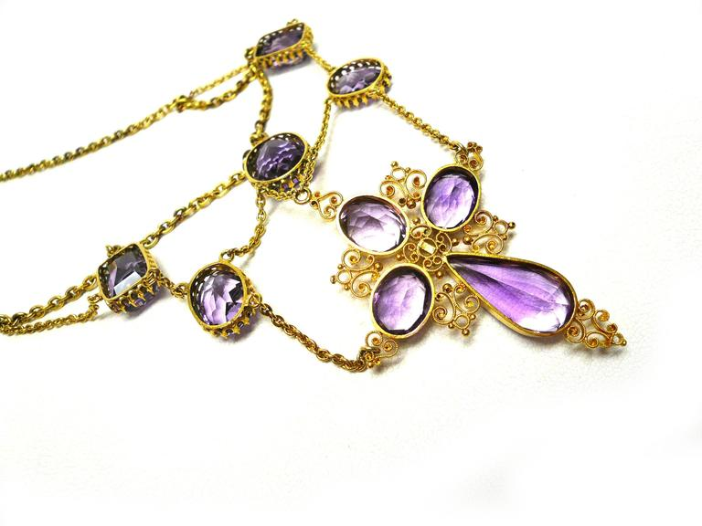 1880s Victorian Amethyst Gold Cross Swag Necklace 4