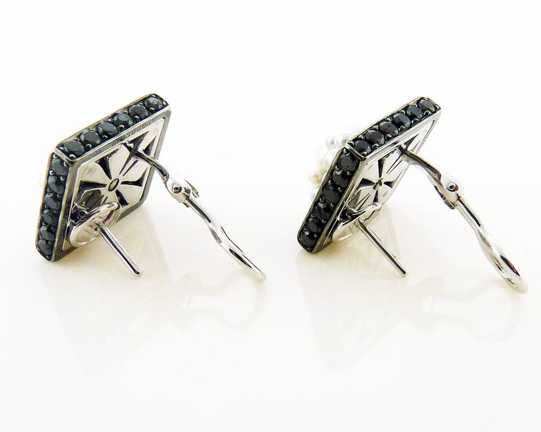 De Grisogono Black Diamond & Pearl Gold Earrings In Excellent Condition For Sale In New York, NY