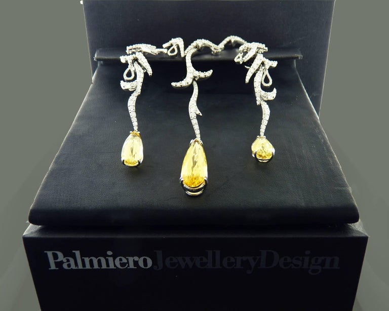 Pear Cut Diamond and Yellow Topaz 18K Gold Earrings and& Necklace Set, Palmiero For Sale
