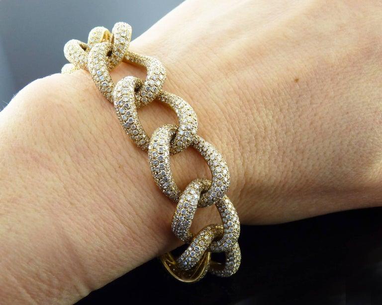 Modern Diamond 18 Karat Yellow Gold Link Bracelet For Sale