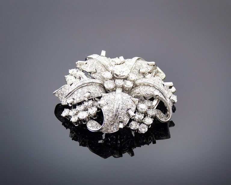 Round Cut Bulgari Diamond Platinum Brooch For Sale