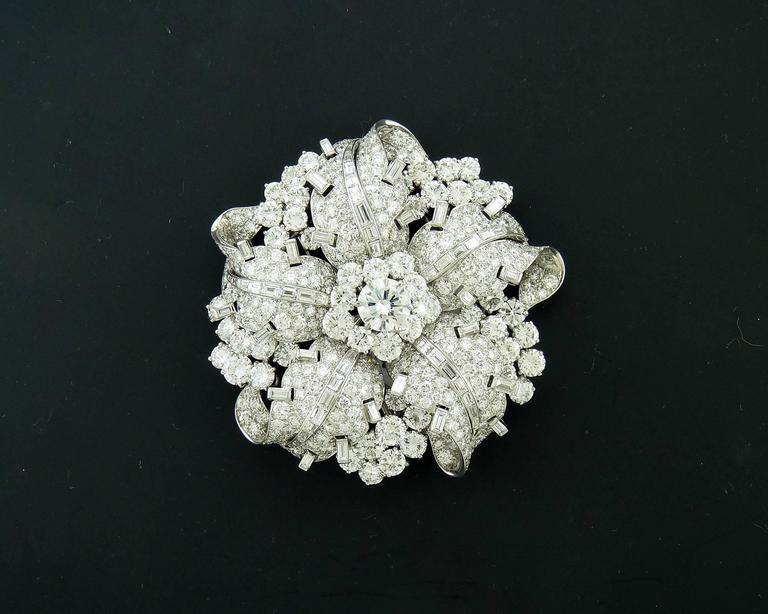 Women's Bulgari Diamond Platinum Brooch For Sale