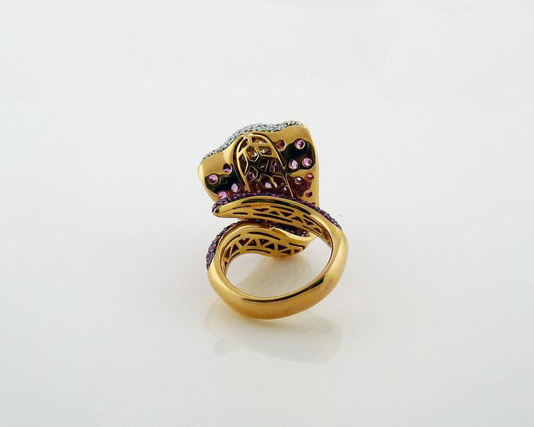 Adamas Pink Sapphire & Diamond 18K Yellow Gold Cobra Snake Ring Retail $12,565 4