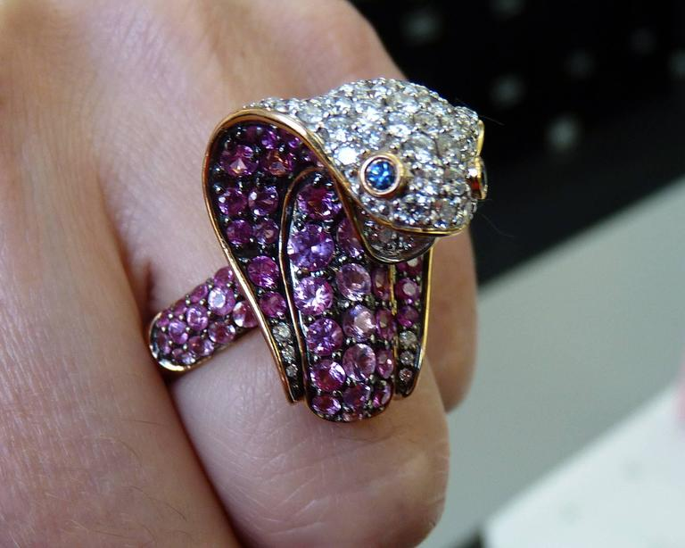 Adamas Pink Sapphire & Diamond 18K Yellow Gold Cobra Snake Ring Retail $12,565 2