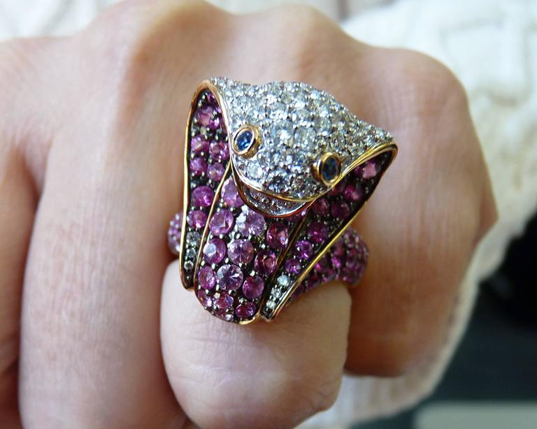 Adamas Pink Sapphire & Diamond 18K Yellow Gold Cobra Snake Ring Retail $12,565 3