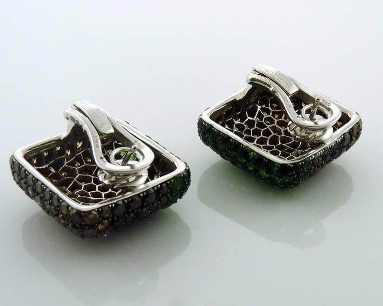 De Grisogono Tsavorite and Diamond 18 Karat Gold Earrings In Excellent Condition For Sale In New York, NY