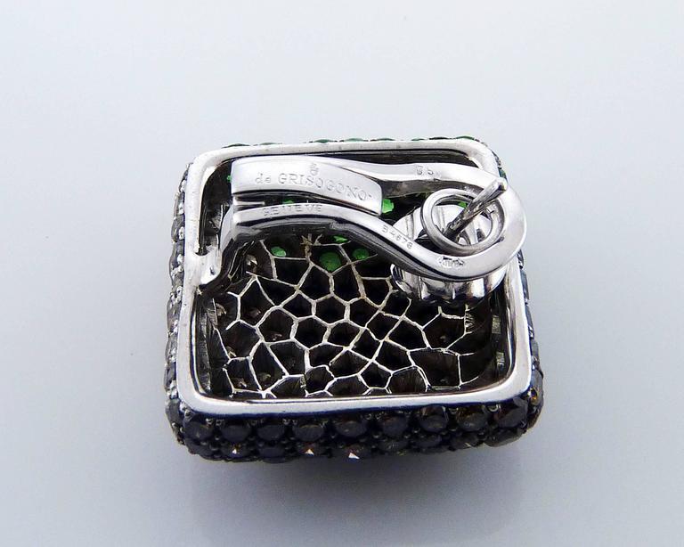 Women's or Men's De Grisogono Tsavorite and Diamond 18 Karat Gold Earrings For Sale
