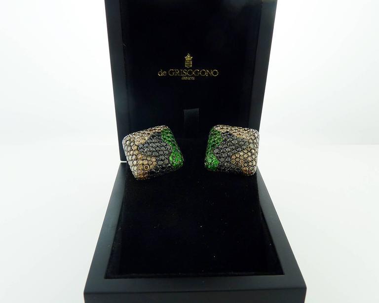 De Grisogono Tsavorite and Diamond 18 Karat Gold Earrings For Sale 1