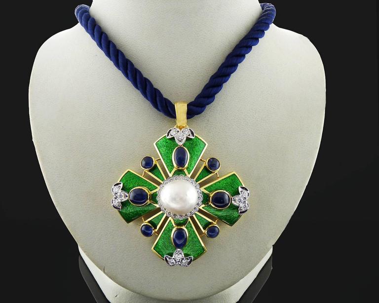 D.Webb Maltese Cross Diamond Pearl Sapphire Enamel Pendant ...