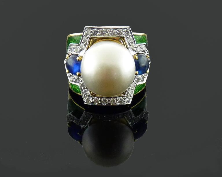 D.Webb Maltese Cross Diamond Pearl Sapphire Enamel Pendant/Brooch and Ring Set For Sale 2