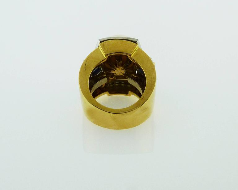 D.Webb Maltese Cross Diamond Pearl Sapphire Enamel Pendant/Brooch and Ring Set For Sale 4