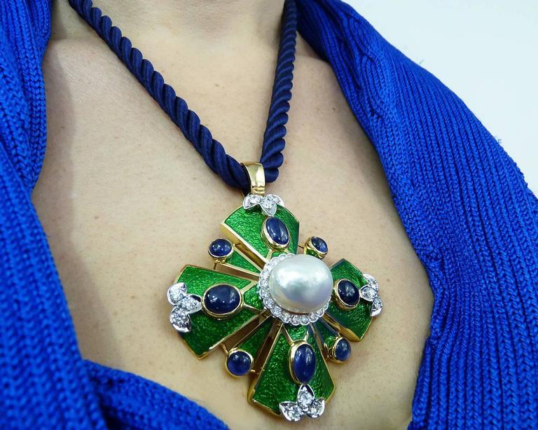 D.Webb Maltese Cross Diamond Pearl Sapphire Enamel Pendant/Brooch and Ring Set For Sale 6