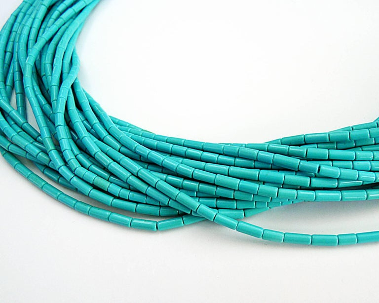Turquoise 18K Yellow Gold Necklace Beautiful for any occasion, either day or night 18K Yellow Gold = 82.73gr Length is 17.5 in