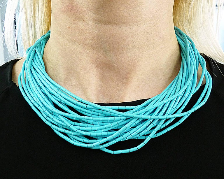 Turquoise 18 Karat Yellow Gold Necklace For Sale 2
