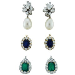 Diamond Pearl Emerald Sapphire Platinum/Gold Interchangeable Drop Earrings