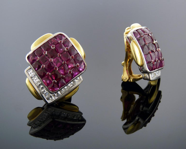 Ruby and Diamond 18K Yellow Gold & Platinum Clip-On Earrings by David Webb In Excellent Condition For Sale In New York, NY