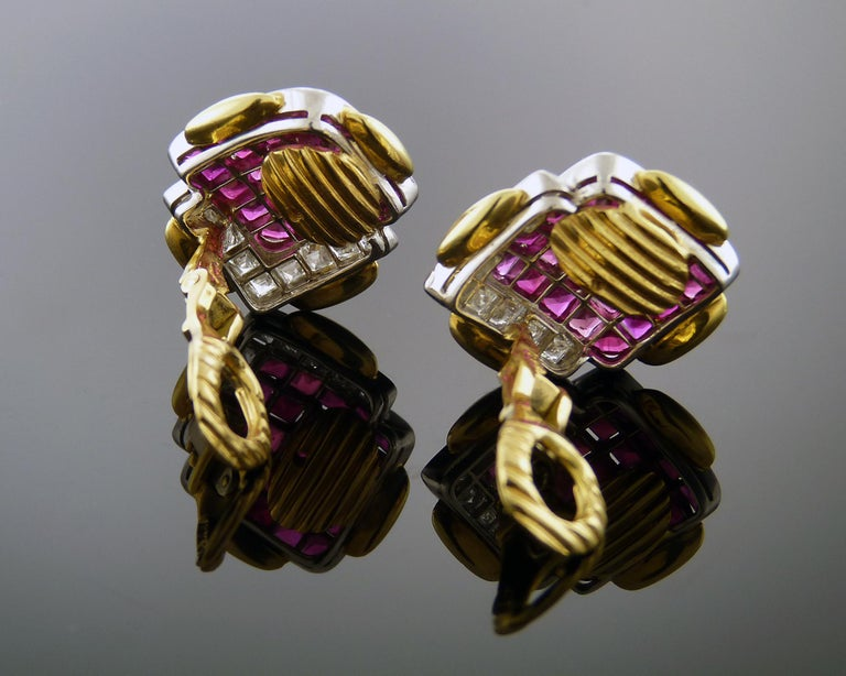 Ruby and Diamond 18K Yellow Gold & Platinum Clip-On Earrings by David Webb For Sale 1