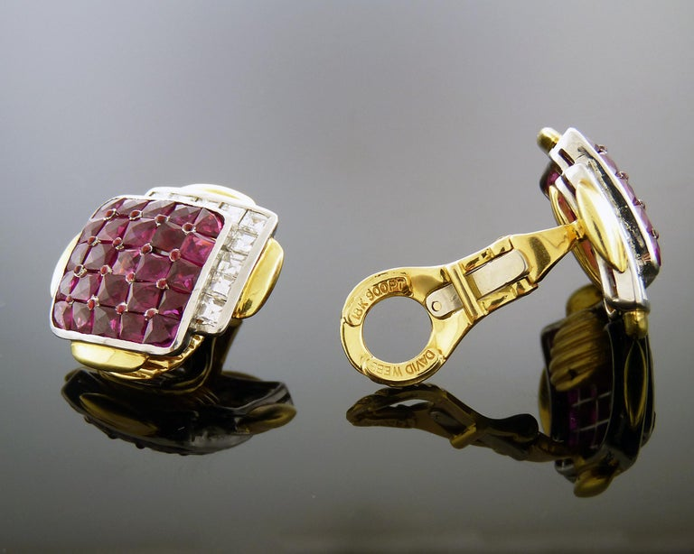Women's Ruby and Diamond 18K Yellow Gold & Platinum Clip-On Earrings by David Webb For Sale