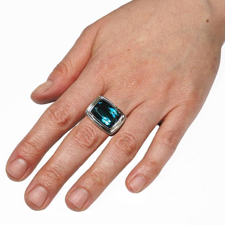 Cushion Cut Colleen B. Rosenblat 14.45 Carat Indigolite Gold Ring For Sale