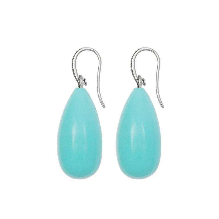 Colleen B. Rosenblat Turquoise Diamond Gold Earrings 2