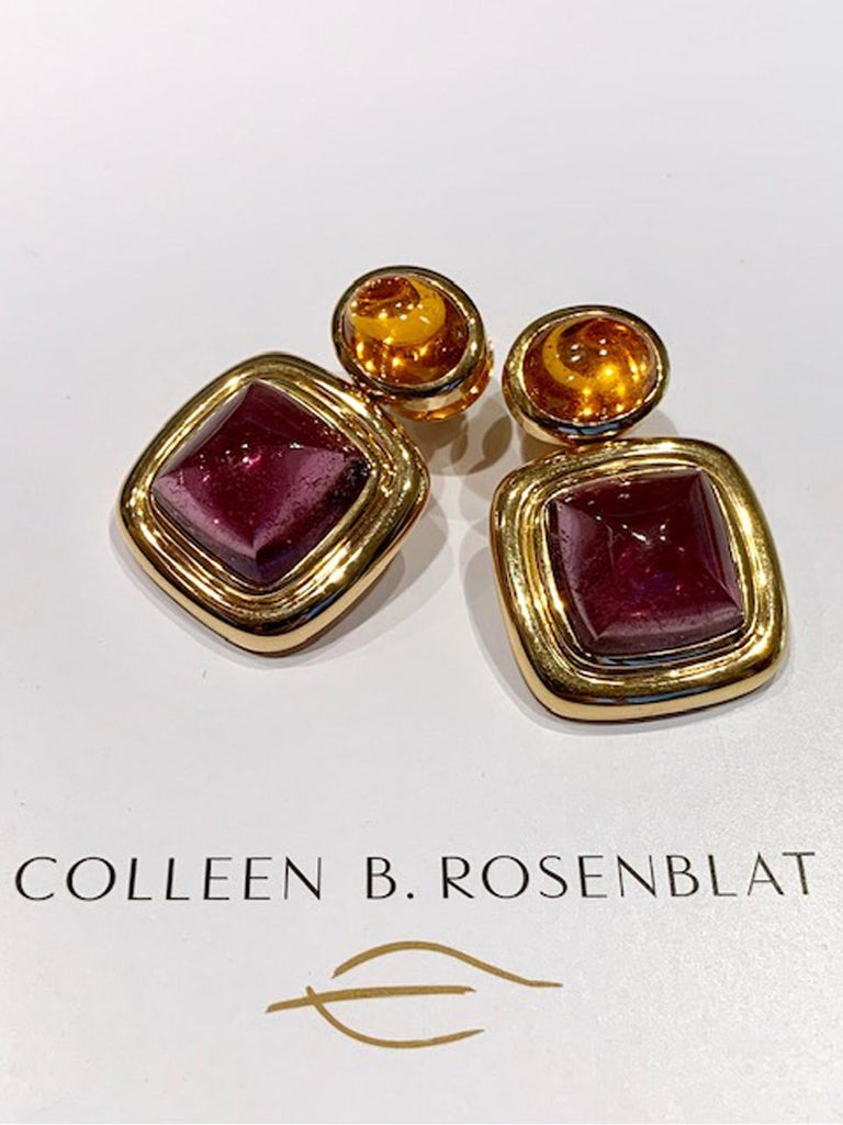 Colleen B. Rosenblat designed this classic pair of tourmaline 23.13 ct and mandarine granet 13.22 ct earrings set in 18k rose gold. This earring put color to you evey day life.
