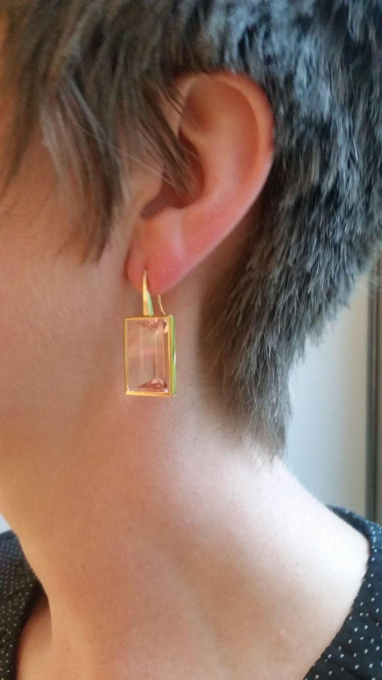 Precious basics earrings in 18 carat rose gold with morganites 46.70 ct designed by Colleen B. Rosenblat.