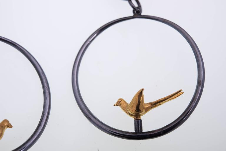Line Vautrin Couple of Turtledoves Bronze Earrings In Good Condition For Sale In Brussels, BE