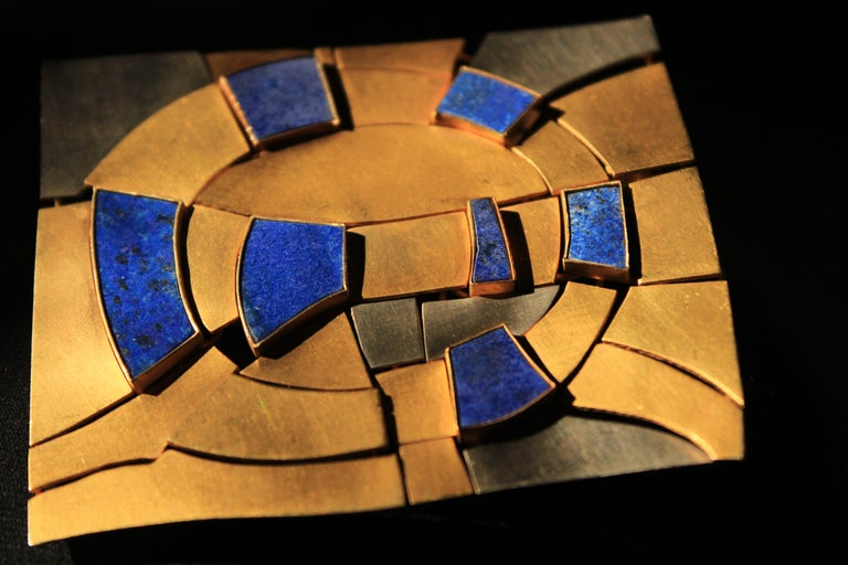 Women's or Men's Modernist Gold and Lapis Lazuli Brooch Designed by Andre Lamy For Sale