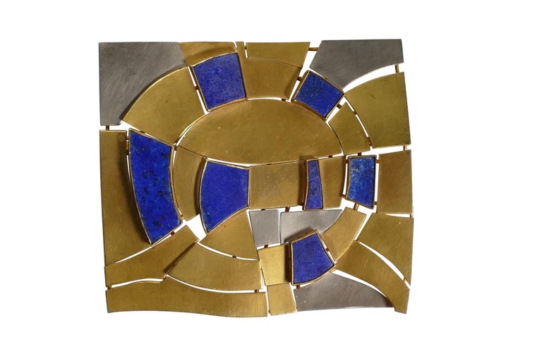 Modernist Gold and Lapis Lazuli Brooch Designed by Andre Lamy For Sale 1
