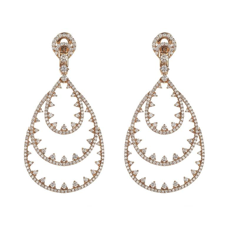 Magnificent Three-Tiered Diamond Rose Gold Chandelier Earrings 1