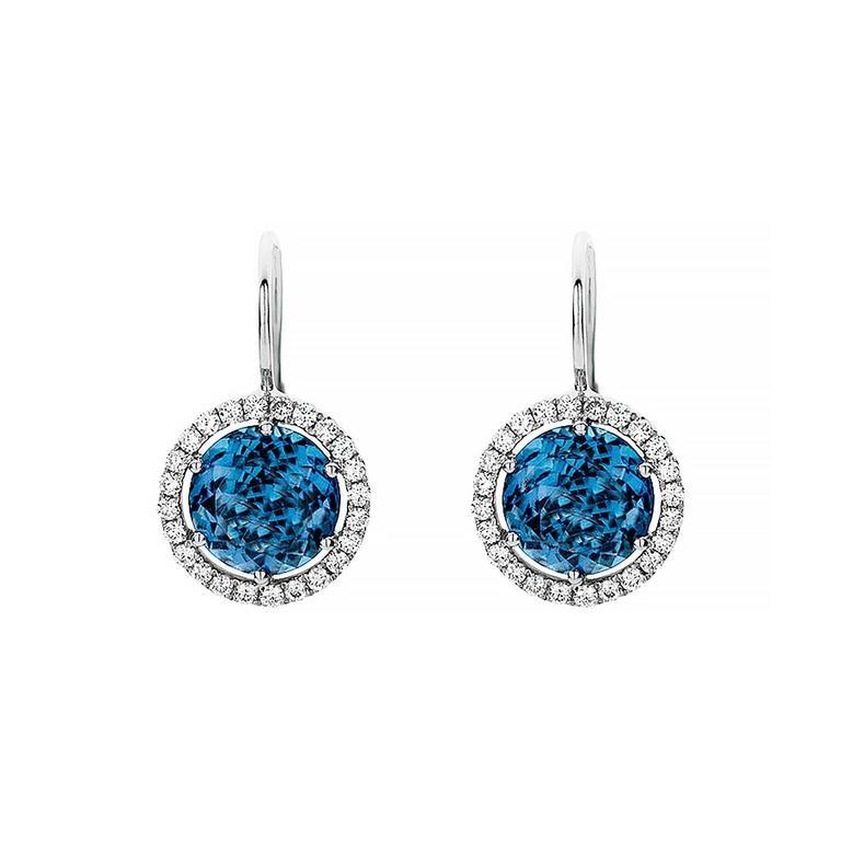 London Blue Topaz Diamond Gold Drop Earrings For Sale at ...