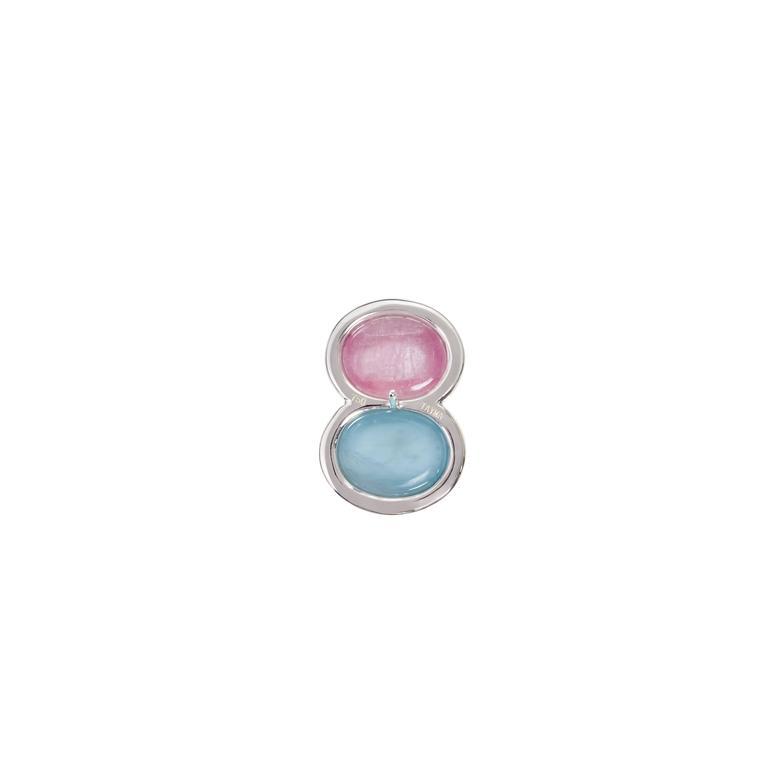 Snowman Pink Tourmaline Aquamarine Diamond Gold Earrings 3