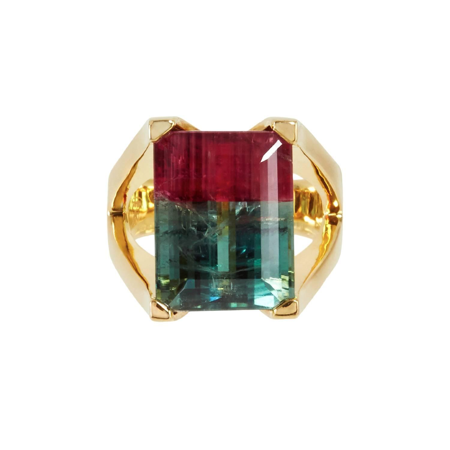 Watermelon Tourmaline Mahjong Ring For Sale At 1stdibs
