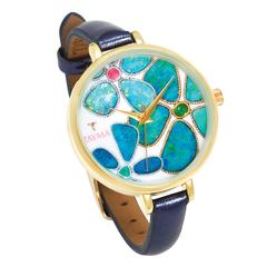 Tayma Yellow Gold Floating Islands Limited Edition Opal Graphic Print Wristwatch