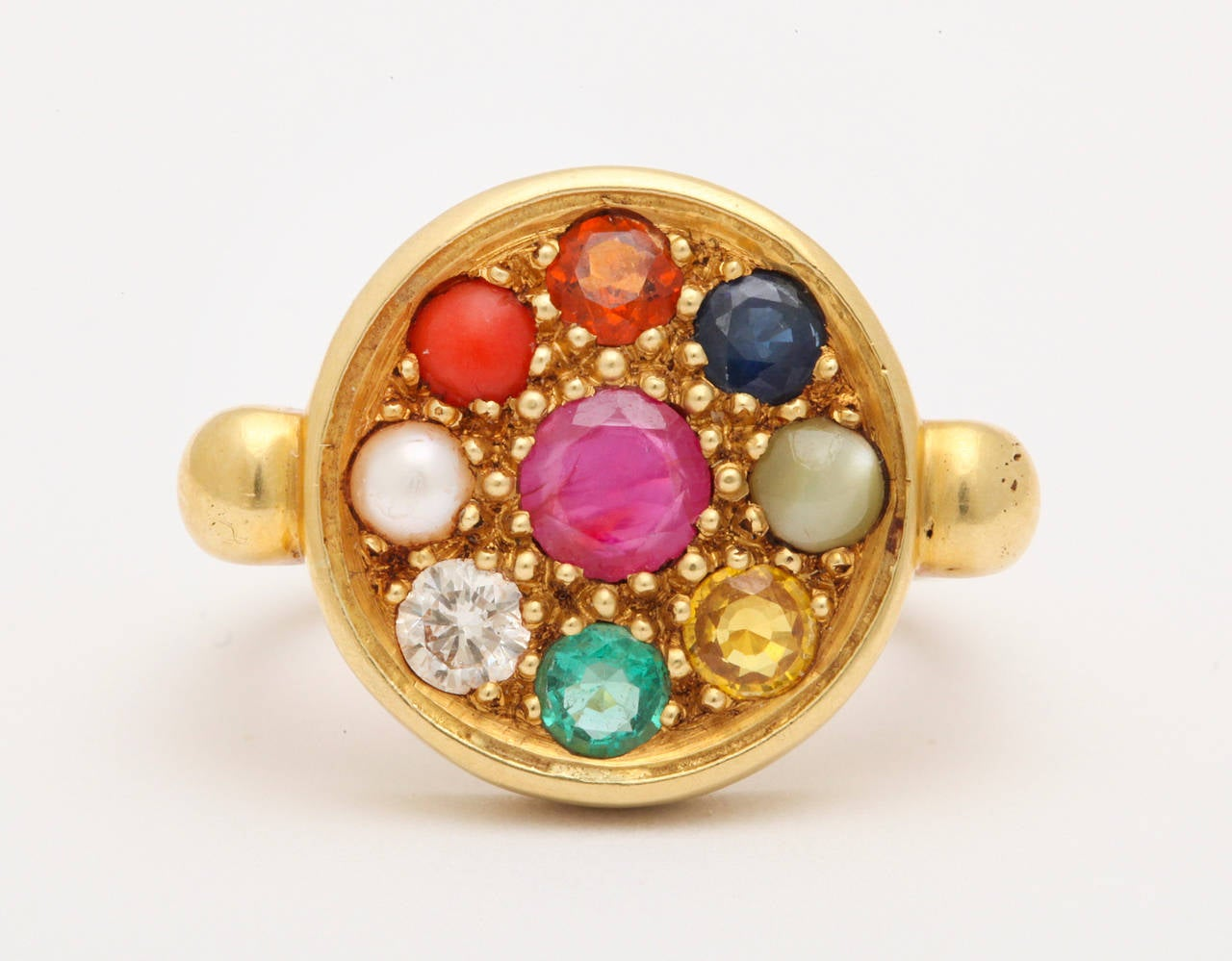Nine Planet Gem Set Gold Ring at 1stdibs