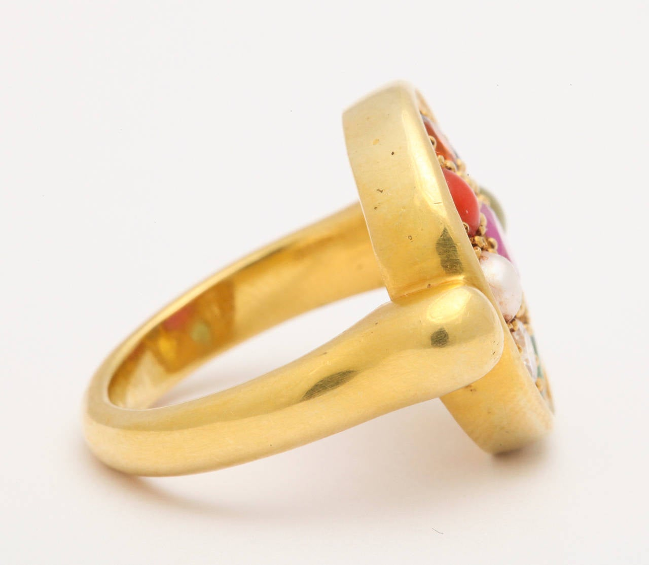 Nine Planet Gem Set Gold Ring For Sale at 1stdibs